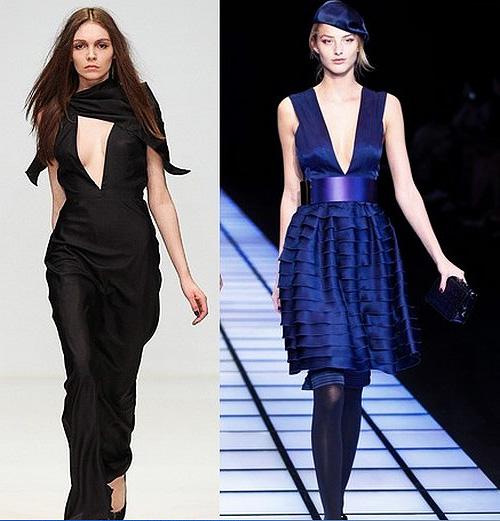 Платье с глубоким декольте как носить