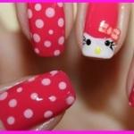 Яркий креативный маникюр Hello Kitty Видео