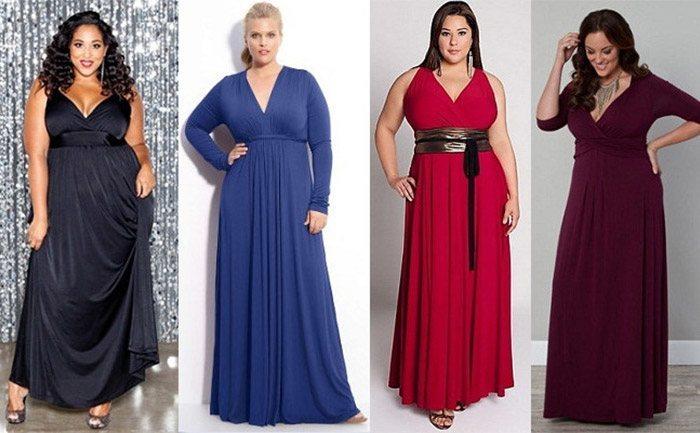 Выбор платья для полной женщины с животом Фото