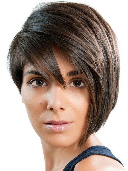 Ассиметричные женские стрижки для круглого лица