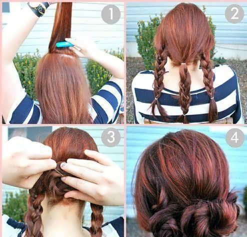 Красивые причёски на средние волосы своими руками фото