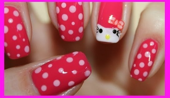 Яркий креативный маникюр Hello Kitty (Видео)
