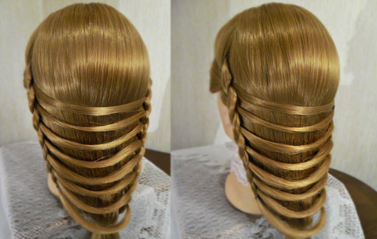 Прическа на длинные волосы: Техника плетения Мостик (Видео)