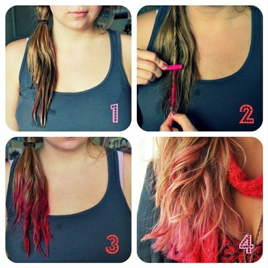 Как покрасить волосы цветными мелками? Видео