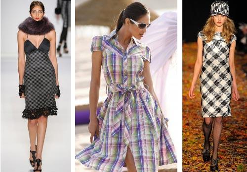 С чем носить платье в клетку?
