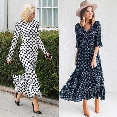С чем носить платье в горошек? Модные идеи Фото