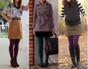 Цветные колготы: С чем носить? (Фото)
